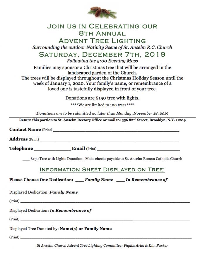 Advent Tree Lighting flyer